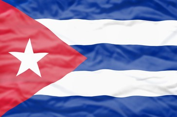 Republica de Cuba flag. Wavy flag of Republica de Cuba fills the frame.