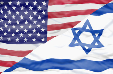 United States of America and Israel mixed flag. Wavy flag of United States of America and Israel fills the frame