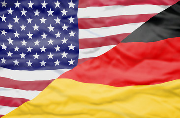 United States of America and Germany mixed flag. Wavy flag of United States of America and Germany fills the frame.