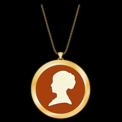 Gold Locket Jewelry, lady's vintage cameo sweetheart keepsake profile silhouette, chain necklace