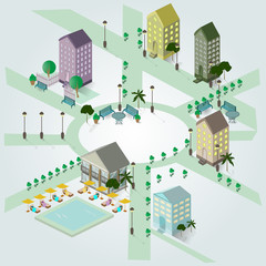Isometric image of a fragment of the city, houses, swimming pool