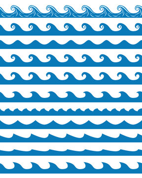 Seamless waves patterns set