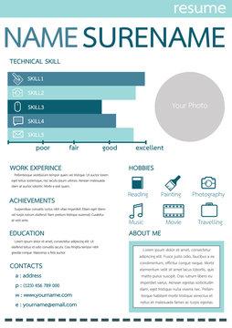 resume template, blue design/free icon