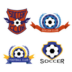 Set of Soccer Football Badge Logo Design Templates | Sport Team Identity Vector Illustrations isolated on white Background | Collection of Soccer Themed T shirt Graphics