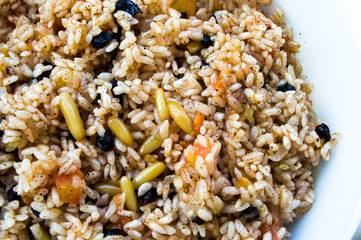 Traditional spicy food pilaf, seasoned rice