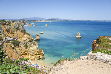 Praia Do Camilo and Atlantic Ocean view in Lagos , Algarve, Portugal