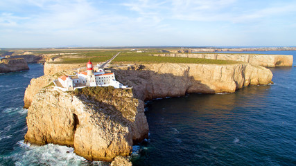 Aerial from the Lighthouse of Cabo Sao Vicente, Sagres, Portugal