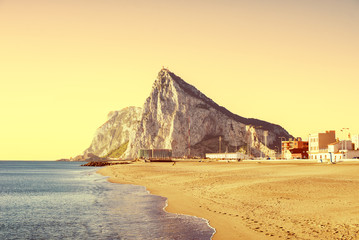 The Rock of Gibraltar as seen from the beach of La Atunara, in L