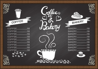 Coffee and baker menu on chalkboard.