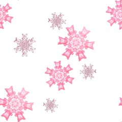 Seamless pink snowflake pattern on white background