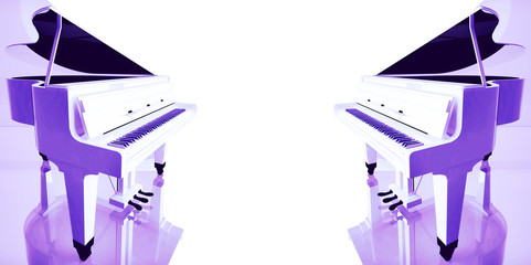 Lilac grand piano on a white background.