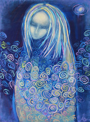 Awaiting birth. Beautiful acrylic painting on canvas of a mysterious woman in blue clothes, surrounded by abstract flowers, in the light of the star on a night background. Hand drawn portrait.