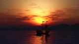 3D landscape of ship sailing on sea