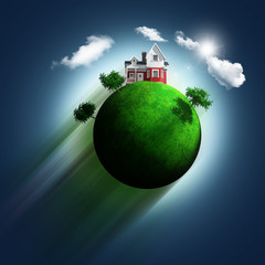 3D grassy globe with house and trees on a blue sky background