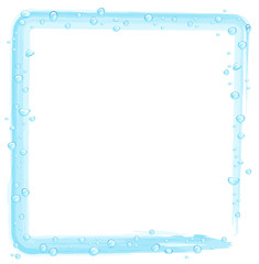 water drops on a blue drawn frame on a white background