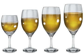 Transparent wine glasses. Translucent in vector file