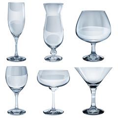 Transparent glass goblets. Translucent in vector file