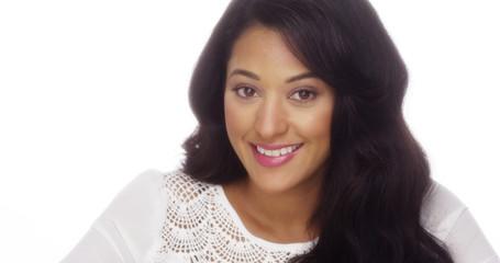 Mexican woman smiling at camera
