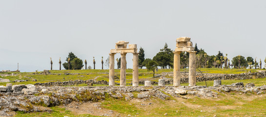 Ancient stones and parts in Hierapolis, Pamukkale, Turkey. UNESCO World Heritage