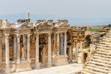 Amphitheater in ancient Hierapolis, Pamukkale, Turkey. UNESCO World Heritage site