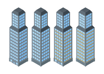 Vector isometric buildings. Skyscrapers.