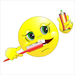 The smilie brushes teeth.