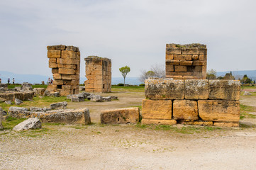 Ancient ruins in Hierapolis, Pamukkale, Turkey. UNESCO World Heritage
