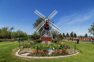Windmill in Holland, Michigan. Beautiful blue skies in the background.