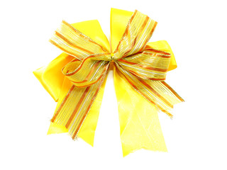 gold ribbon bow gift on white background