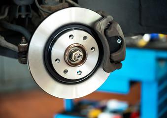 Brand new brake disc on car