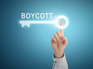 male hand pressing boycott key button
