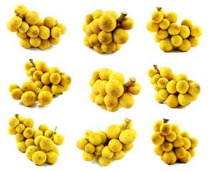 longkon langsat or lanzones sweet fruit on white background