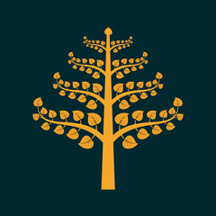 Golden Bodhi tree symbol with Thai style