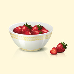 white bowl with strawberries shadow and reflection
