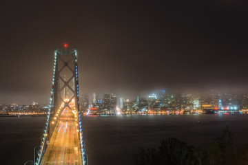 Downtown San Francisco with fog at Night time