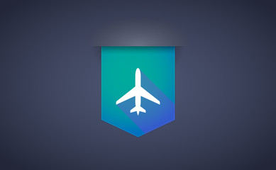 Long shadow ribbon icon with a plane