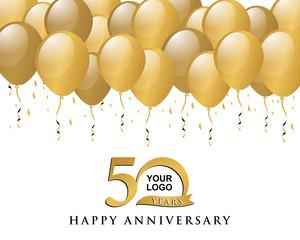 anniversary golden logo balloon background 50