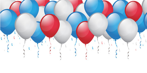 blue red white balloon background