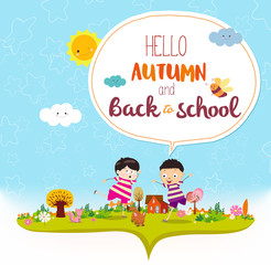 Goodbye summer. Hello autumn funny and happy smiling kids