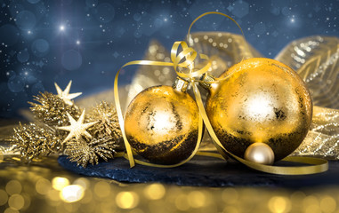 Christmas decorations on dark abstract background