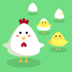 Editable vector illustration of a cute chicken, chick, and egg in green background.