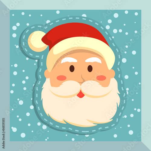 illustration of santa s face in snowy blue background stock image