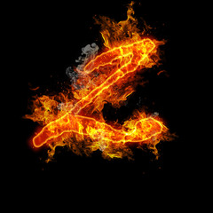 Number two fire on a black background