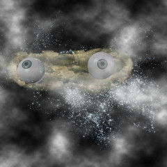 Mysterious eyeballs behind the clouds