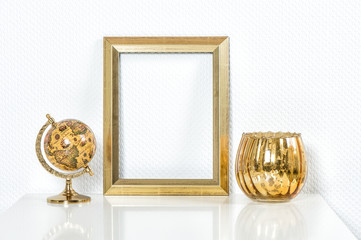 Golden picture frame with decorations. Mock up for your photo