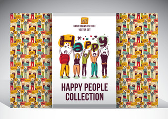 Happy people set big group collection