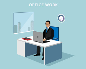 Office manager working at computer in the office. 3d isometric faceless man with laptop