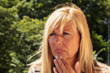 Worried Mature Woman Thinking