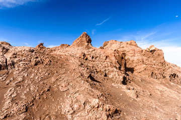 Rock formations of the Moon Valley, Atacama Desert, Chile, South America
