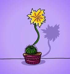 Picture decorative cactus in a flowerpot on purple background